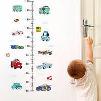 Интерьерная наклейка для измерения роста ребенка Тачки
