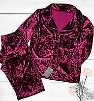 Вишневая пижама женская для дома, рубашка+штаны.