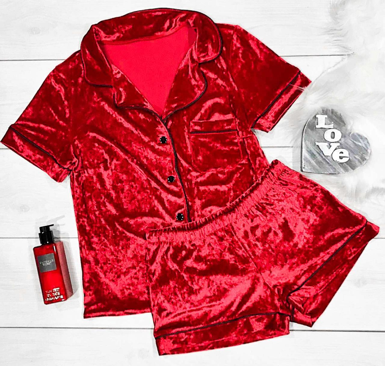Женская пижама красного цвета для дома, рубашка+шорты.