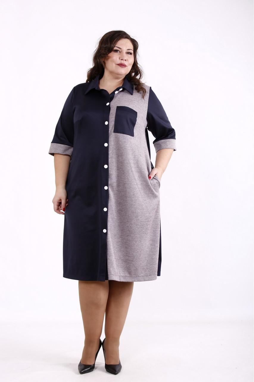 Красиве плаття сорочка для повних синє комбіноване з трикотажу