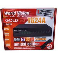 Цифровой Т2 тюнер World Vision T624A +IPTV+ Megogo с обучаемым пультом