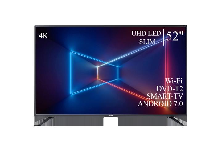 "Современный  Телевизор   Sharp 52""  Smart-TV ULTRA HD T2 USB Гарантия 1 ГОД!"