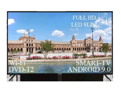"Сучасний Телевізор Liberton 34"" Smart-TV+Full HD DVB-T2+USB Android 9.0"
