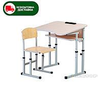 Комплект для НУШ стол парта +стул ученический 1-местный антисколиозный регулируемый по высоте №4-6