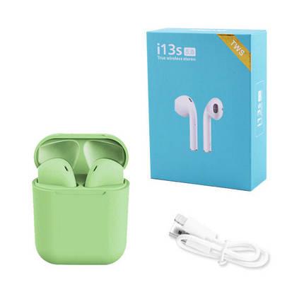 Бездротові bluetooth-навушники i13S ProStar 5.0 з кейсом. Колір: зелений, фото 2