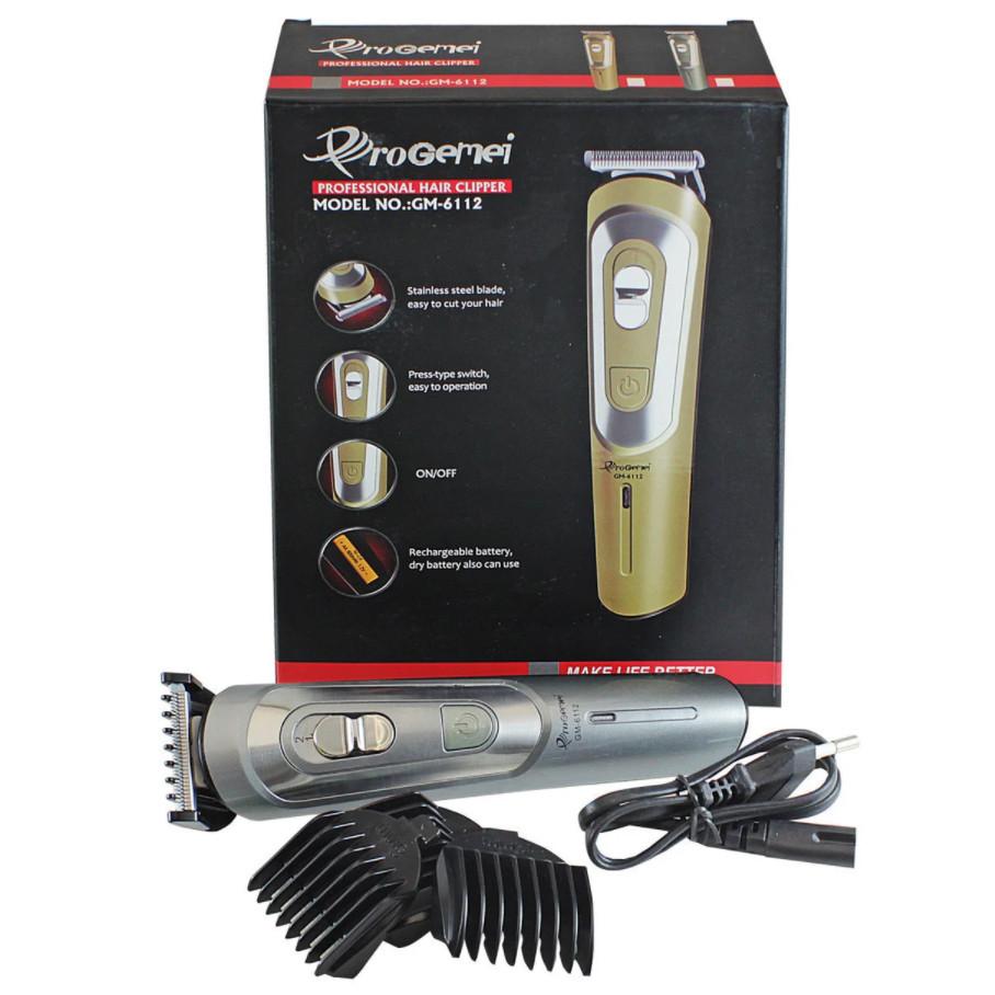 Беспроводная машинка для стрижки волос GEMEI GM-6112 аккумуляторная. Цвет: черный