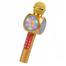 Беспроводной микрофон караоке bluetooth WSTER WS-1816. Цвет: золотой, фото 2