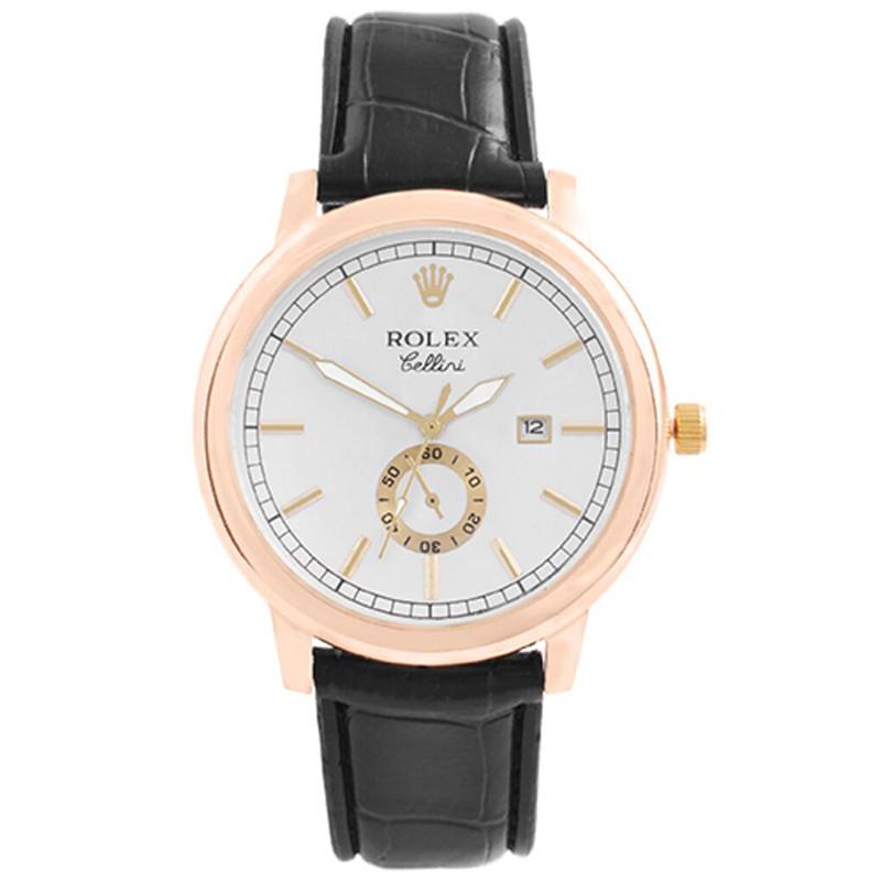 Годинники наручні Rolex White коричневий ремінець