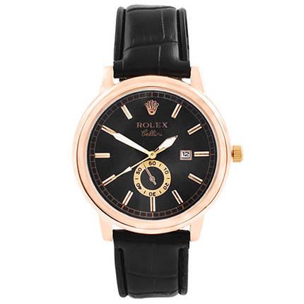Годинники наручні Rolex Black чорний ремінець, фото 2