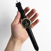 Годинники наручні Rolex Black чорний ремінець, фото 3