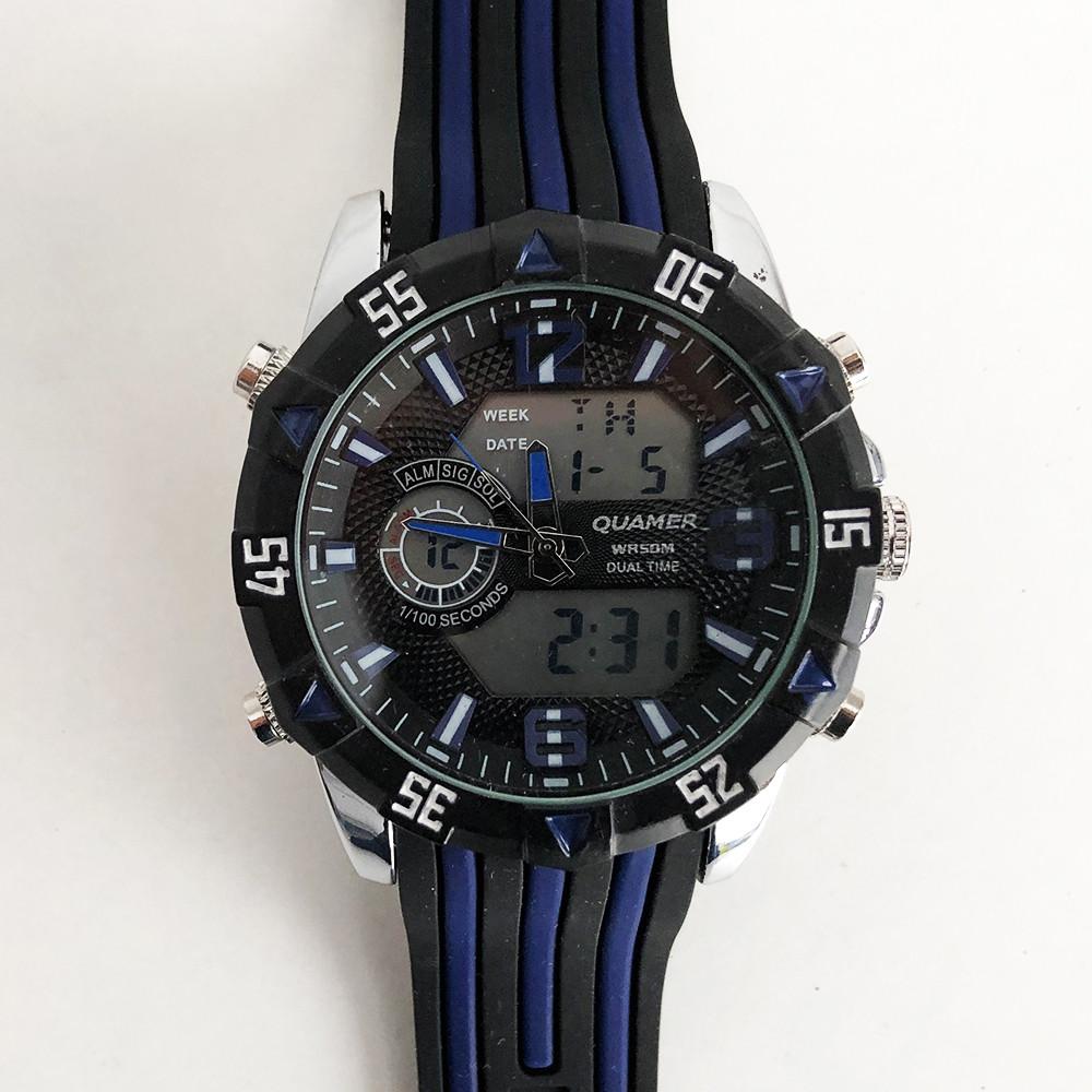 Часы наручные QUAMER, dual time, ремешок каучук. Цвет: синий