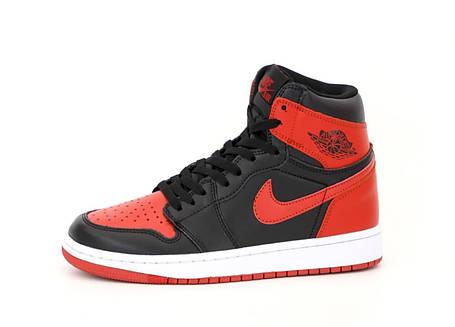 Баскетбольные кроссовки Air Jordan 1 Retro High Black/Red, фото 2
