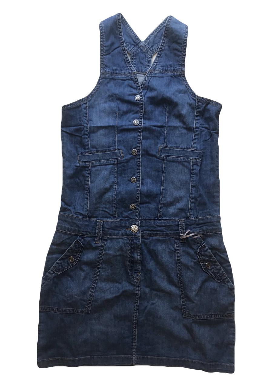 Женский джинзовый Сарафан OMAT 4446 синий