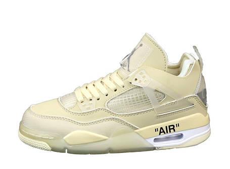Женские баскетбольные кроссовки Off-White x Air Jordan Retro 4 Beige, фото 2