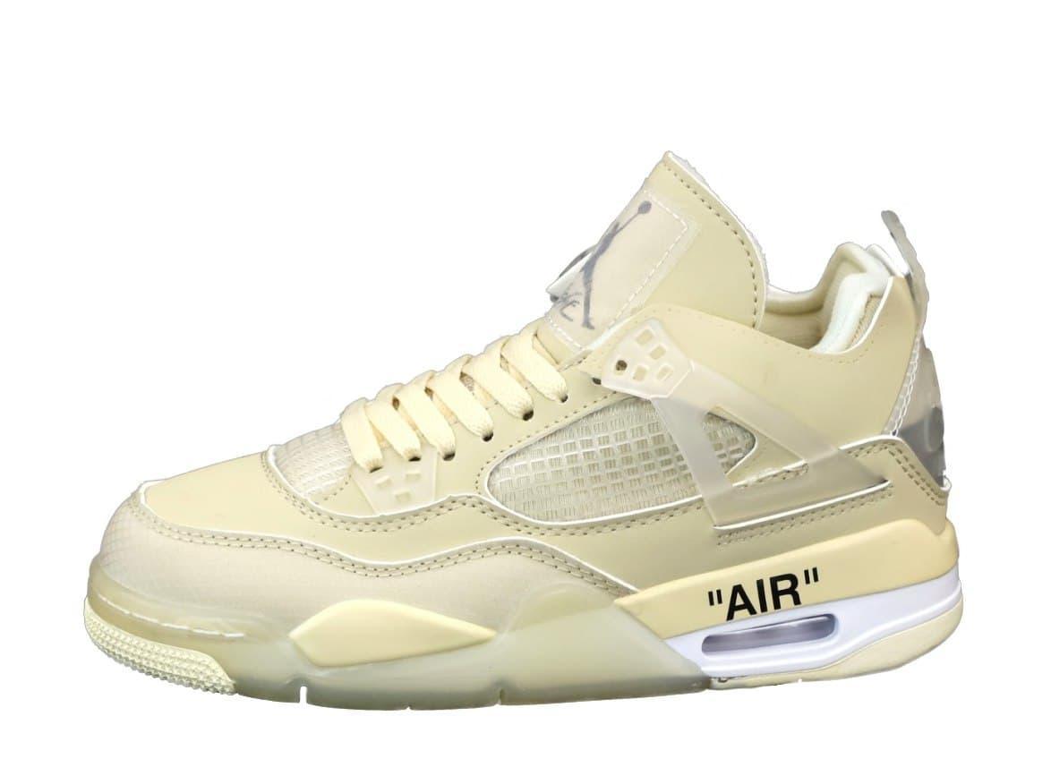 Женские баскетбольные кроссовки Off-White x Air Jordan Retro 4 Beige