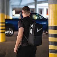 Рюкзак спортивный черный Найк/Nike, городской вместительный рюкзак для учебы, ноутбука
