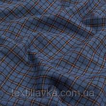 Лоскут костюмной хлопковой клетки ,цвет синий