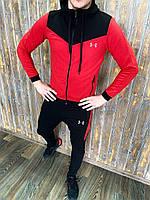 Under Armour Мужской спортивный костюм красный с капюшоном осень/весна/лето.Олимпийка+штаны демисезон