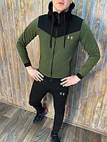 Under Armour Мужской спортивный костюм хаки с капюшоном осень/весна/лето.Олимпийка+штаны демисезон