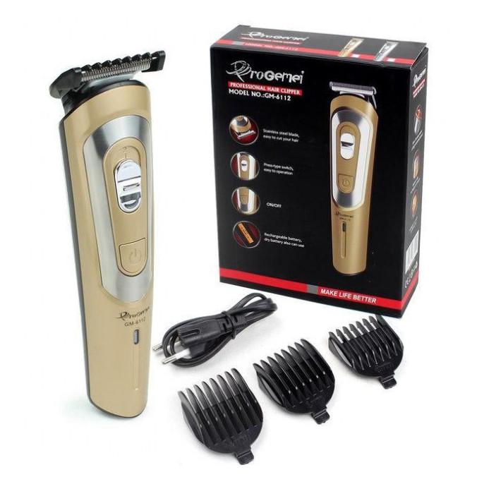 Беспроводная машинка для стрижки волос GEMEI GM-6112 аккумуляторная. Цвет: золотой