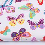 Тканина бавовняна з великими різнокольоровими метеликами (№3291а)., фото 2