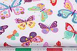 Тканина бавовняна з великими різнокольоровими метеликами (№3291а)., фото 3