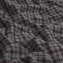Лоскут костюмной хлопковой клетки ,цвет серый