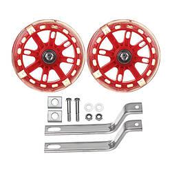 """Колеса приставные со светодиодами детского велосипеда диаметром колес 16"""" Красные"""