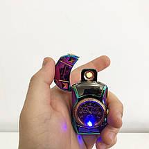 Спіральна запальничка, електрозапальничка акумуляторна USB-813 + годинник, фото 3