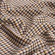 Лоскут костюмной мелкой клетки, цвет бежево-желтый