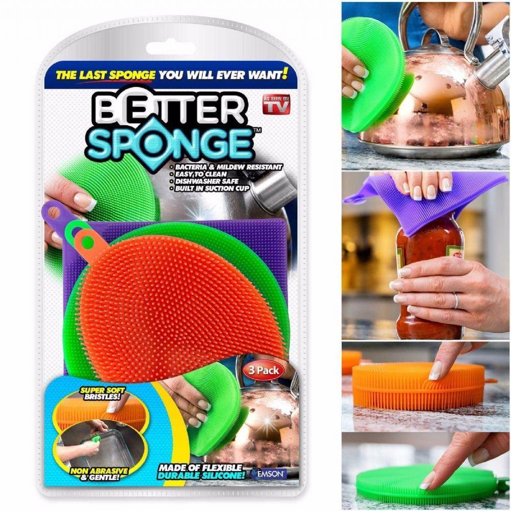 Набор силиконовых щеток-губок SUNROZ Better Sponge для посуды 3 шт