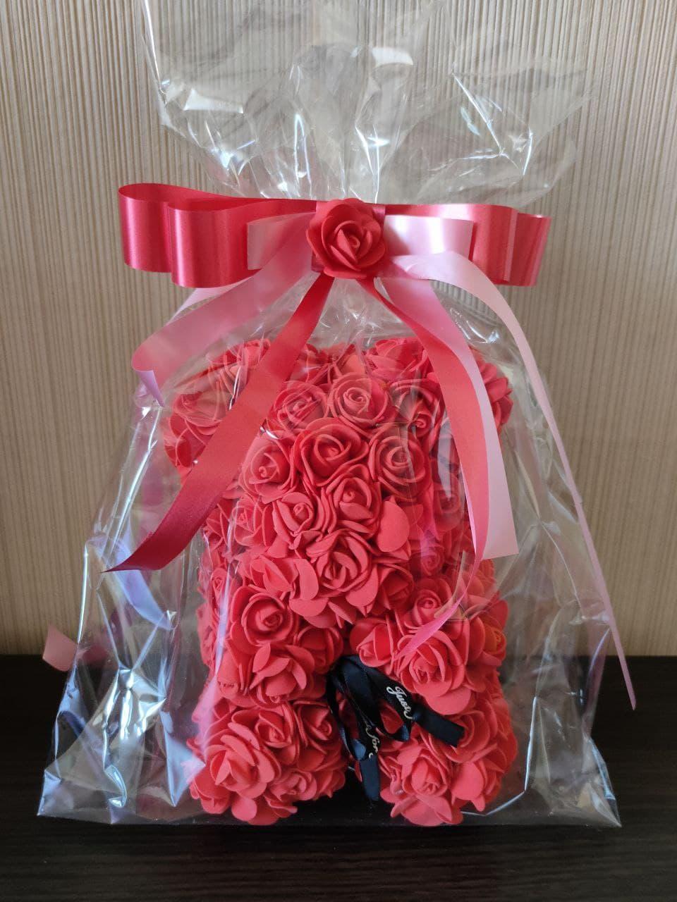 Мишка из Роз 25см Мишка из цветов в подарочной упаковке КРАСНЫЙ