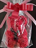 Мишка из Роз 25см Мишка из цветов в подарочной упаковке КРАСНЫЙ, фото 3