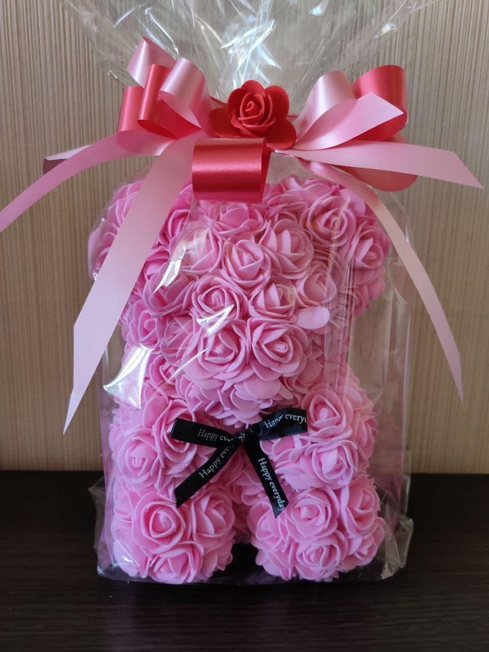 Мишка из 3D роз 25 см в подарочной упаковке мишка Тедди из роз РОЗОВЫЙ