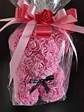 Мишка из 3D роз 25 см в подарочной упаковке мишка Тедди из роз РОЗОВЫЙ, фото 2