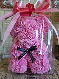Мишка из 3D роз 25 см в подарочной упаковке мишка Тедди из роз РОЗОВЫЙ, фото 3