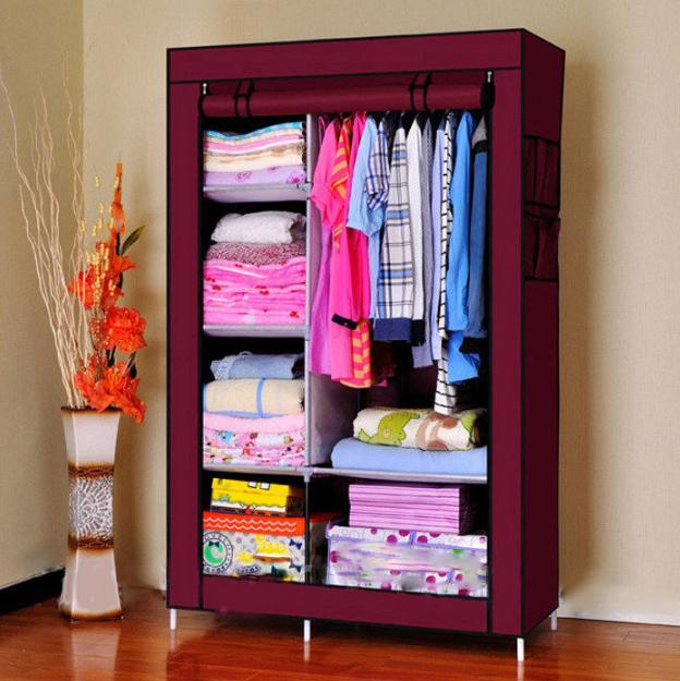 Тканевый шкаф органайзер для вещей на 2 секции складной 105х45х170см Storage Wardrobe Цвет: темно-серый