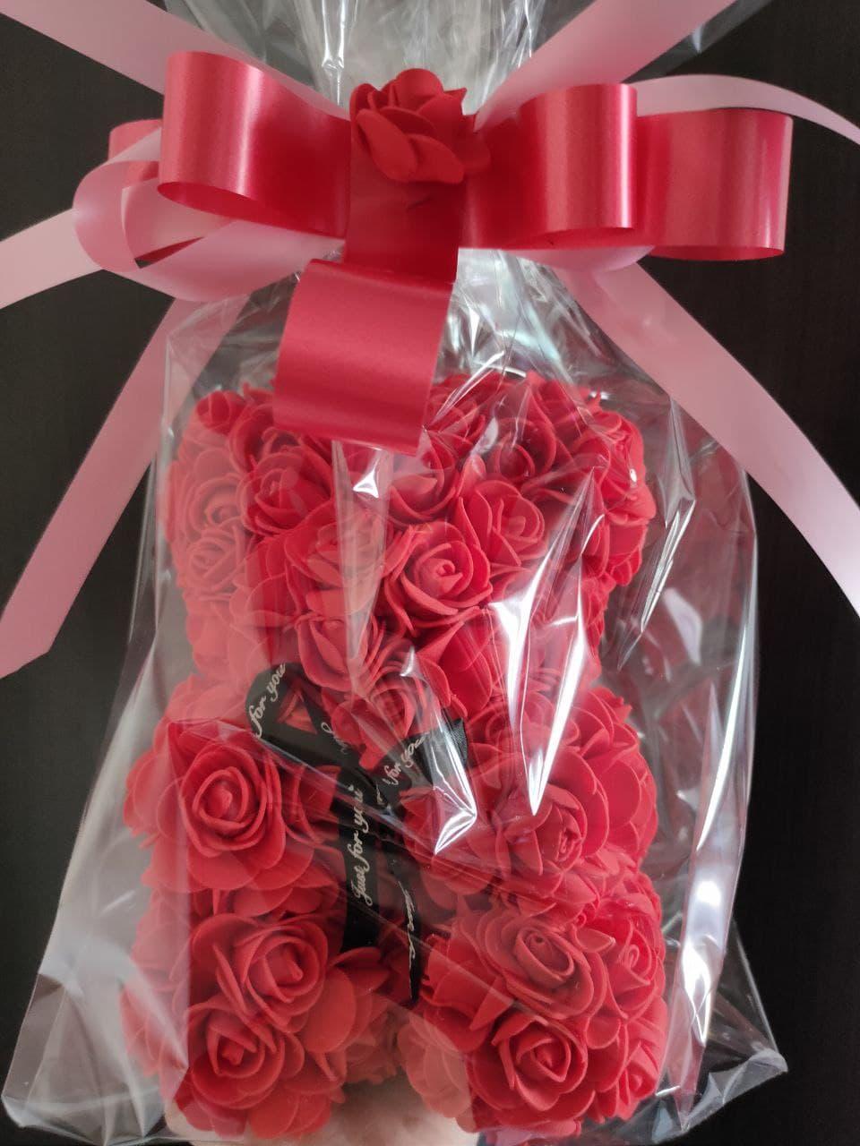 Мишка из 3D роз 25 см в подарочной упаковке мишка Тедди из роз КРАСНЫЙ