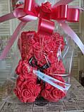 Мишка из 3D роз 25 см в подарочной упаковке мишка Тедди из роз КРАСНЫЙ, фото 2