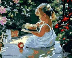 Картина малювання за номерами Mariposa Дівчинка з капелюшком Q840 40х50см Худ. Володимир Волегов набір для