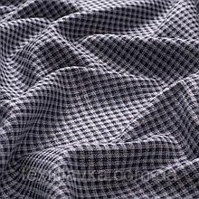 Лоскут костюмной мелкой клеткис блеском,цвет серо-синий