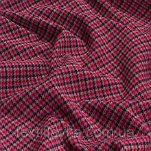 Лоскут костюмной мелкой клетки, цвет бордово-розово-серая