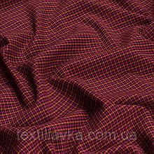 Лоскут костюмной мелкой клетки, цвет розово-оранжевый