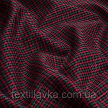 Лоскут костюмной мелкой клетки, цвет красно-зеленый