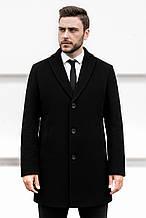 Мужское шерстяное черное пальто на весну