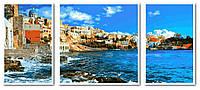 Картина малювання за номерами Babylon Греция Триптих 50х150см VPT049 набір для розпису, фарби, пензлі, полотно, фото 1