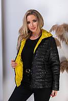 Куртка двусторонняя женская, арт. 185, чёрный-жёлтый