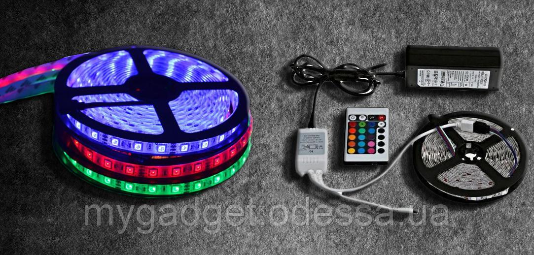 RGB Гнучка-світлодіодна Led стрічка 5050 (Адаптер + Контролер + Пульт) 5 метрів