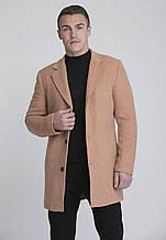 Мужское шерстяное коричневое пальто на весну