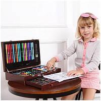 Детский набор для творчества 123 предмета в деревянном чемодане